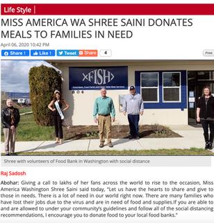 MISS AMERICA WA SHREE SAINI DONATES MEAL