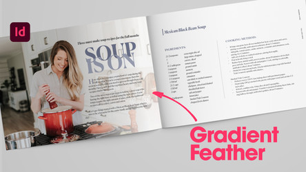 Learn how to add a gradient feather, text wrap to magazine layouts