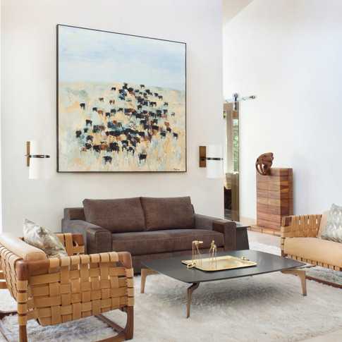 The scale of the artwork is important to establish a relationship with the lofty sunlit space