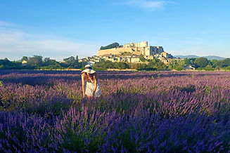 Excursion In Grignan taking pictures in the lavender fields in front of the castle