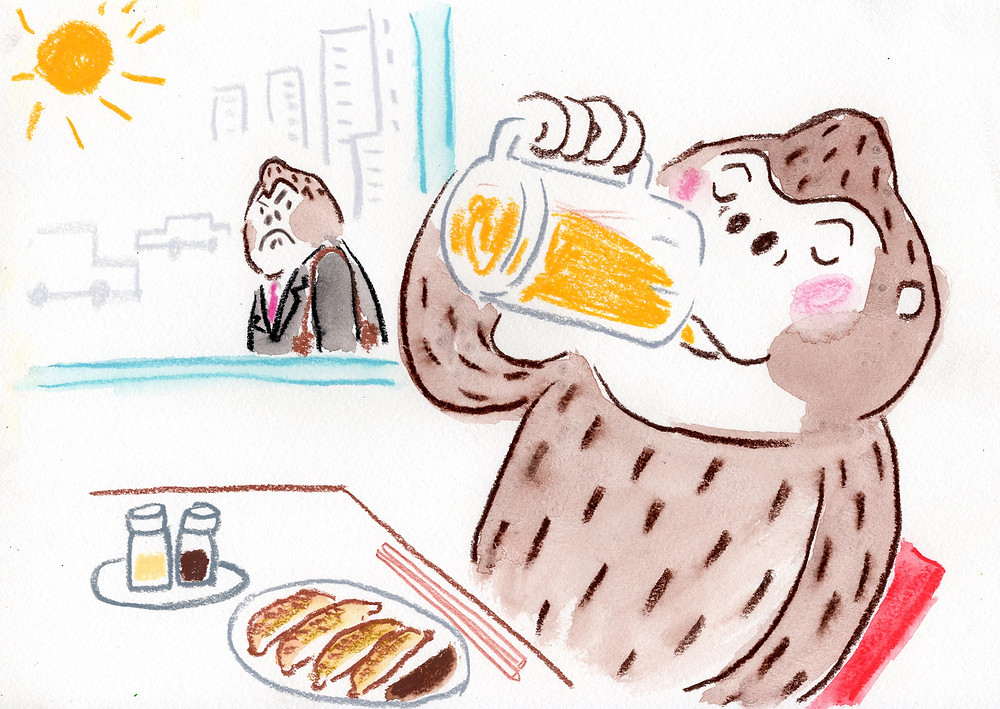 昼から餃子とビール!