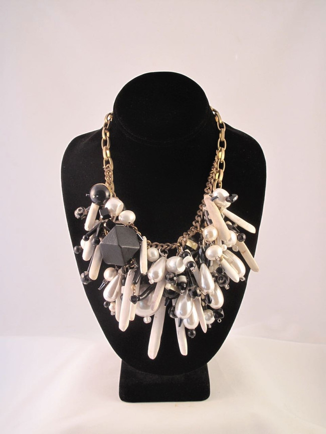 Black and White Cluster Necklace