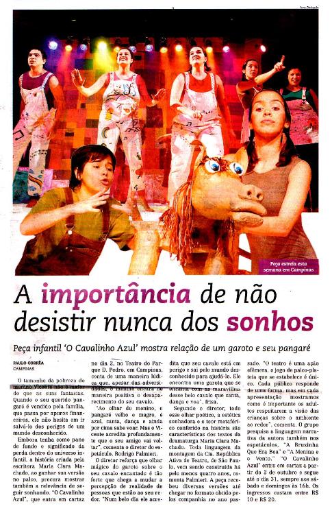 O Cavalinho Azul - Jornal Todo Dia (TEATRO PQ. D. PEDRO)