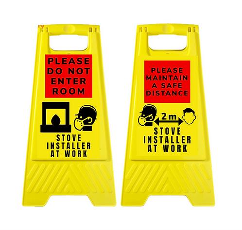 Warning Hazard Sign Stove Installer Covid