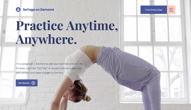 Video website templates – Yoga on Demand