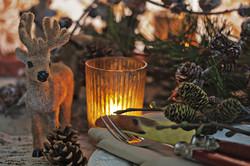 Winterlich gedeckter Tisch mit Rentier