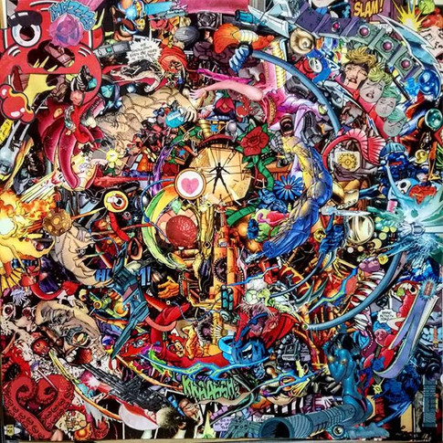 Collage of 100s of comic book pieces.  F