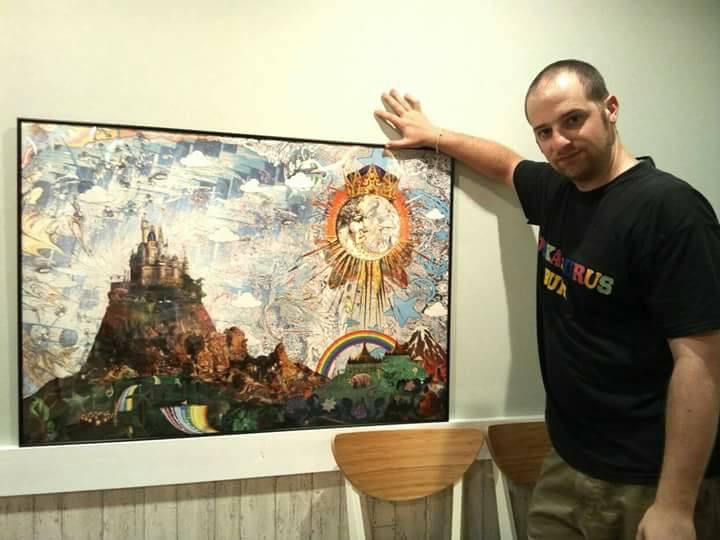 ちゃま珈琲 collage art on display in Yokohama