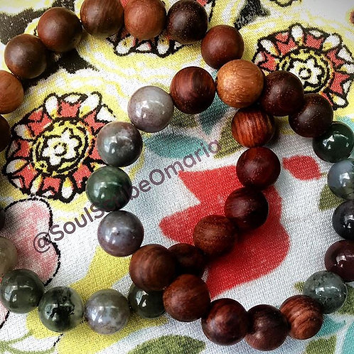 Indian Agate + Wood Distance Bracelets