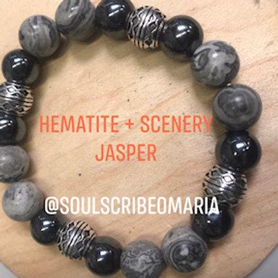 Scenery Jasper + Hematite & Silver Accents