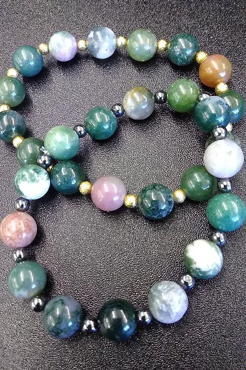 Indian Green Agate Distance Bracelets
