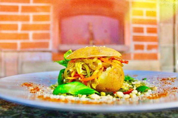 """Patata ripiena vegetariana con """"sabbia"""""""