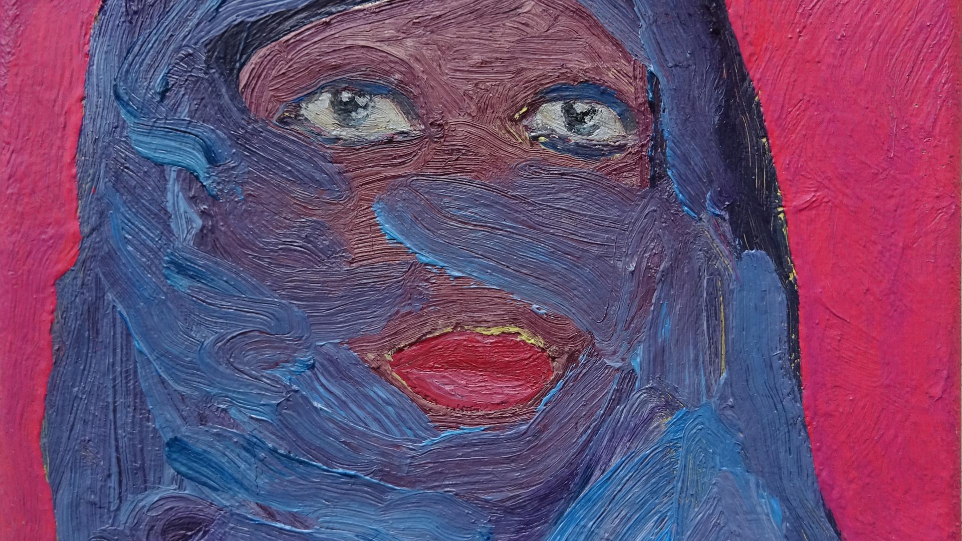 HRoberts 'Demure', oil on Canvas, 20x20c