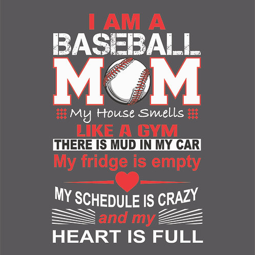 #1538 Full Heart Baseball Mom