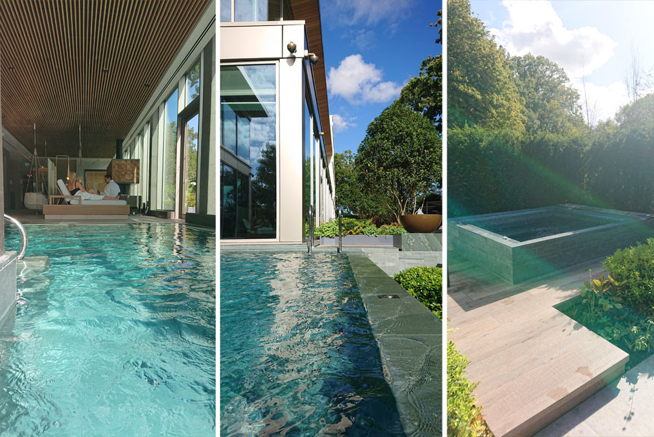 Indoor and outdoor hydro-pools flow into the garden which feature outdoor jacuzzis