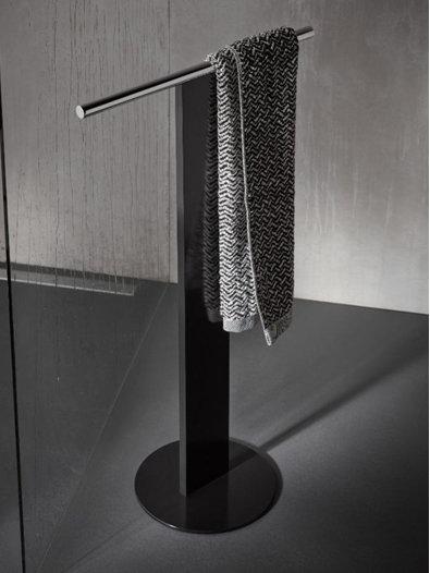 Freestanding Keuco Towel Holder Double Black & Chrome