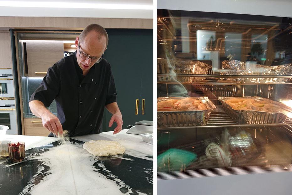 Preparing dough for baking in Kuppersbusch oven