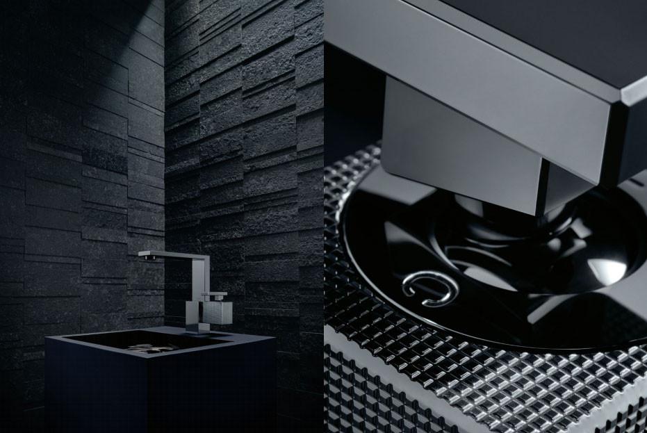 Polished black basin mixer