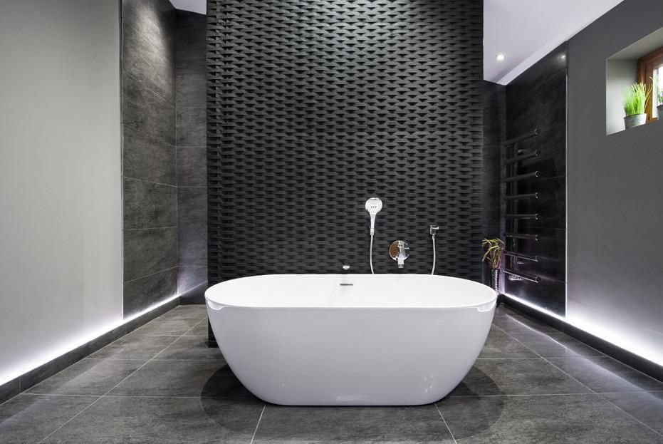 Lighting was key in creating our dramatic 'Rockstar' black bathroom design