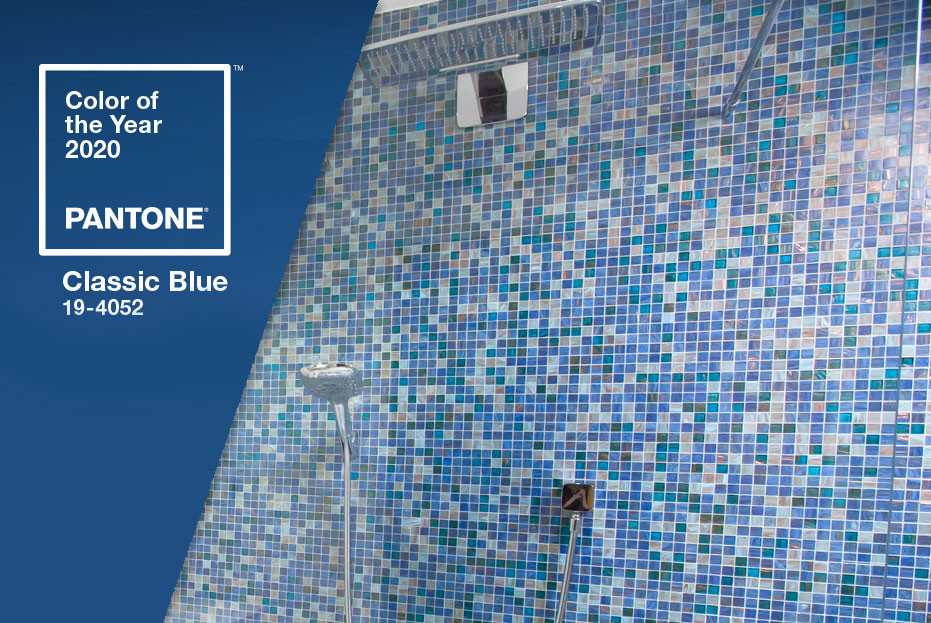 Blue mosaic tiles in our blue bathroom celebrate Pantone colour of the year