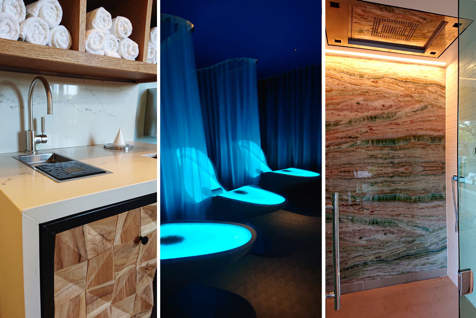 Cocoon beds in the Deep Relaxation Room and Dornbracht Sensory Sky shower