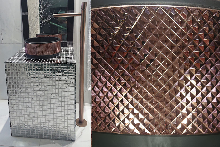 Washbasin finished in black mat/Bronze Lux crystal