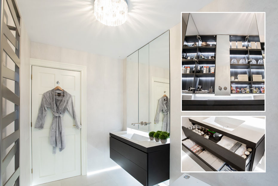 Lighting inside the cabinet is not only practical but it elevates the mirror into a wall feature