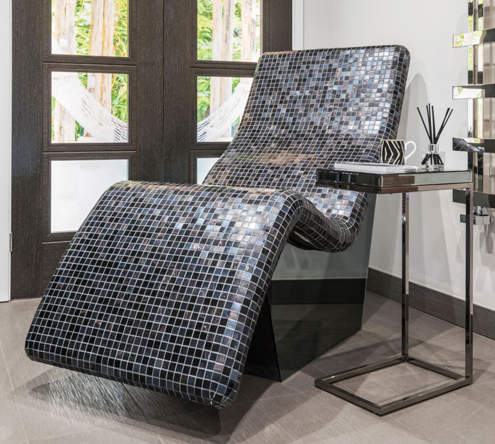 Heated lounger covered in bisazza mosaics