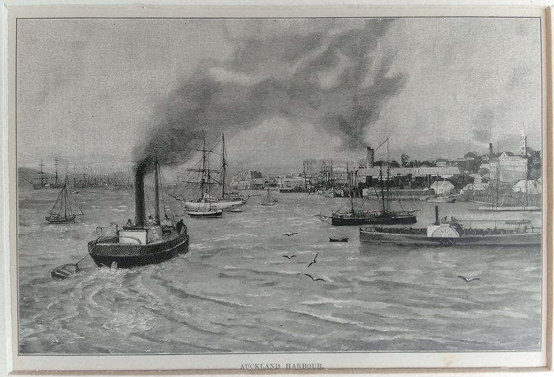 Auckland 1835 Original Wood Block print