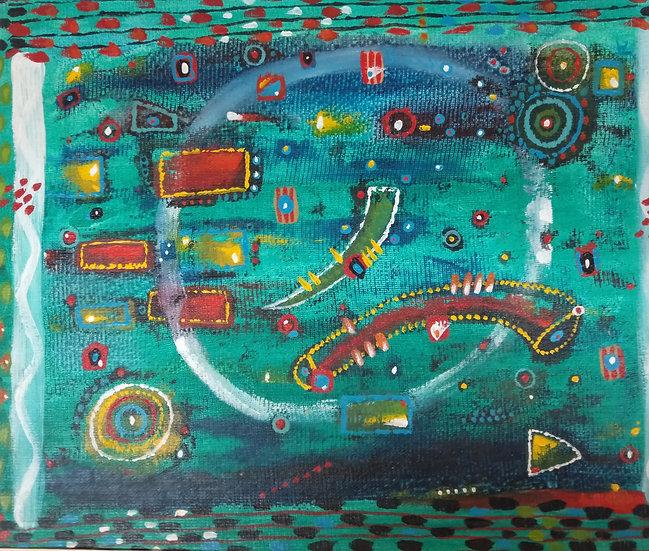 Alan Taylor (NZ) - Maori Folk Motif 4 - Acrylic on canvas board