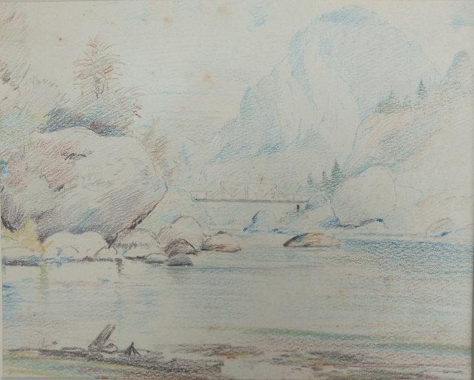 Original Trevor Lloyd drawing C.1920 - Coloured Pencil Sketch Aratiatia Rapids