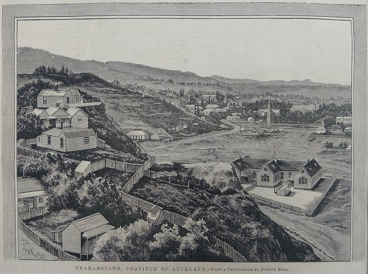 Grahamstown - 19th C. NZ Newspaper print