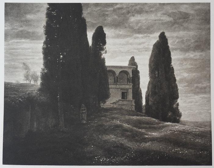 Italiensische Villa im Fruhling. Original graveure C. 1885. Anold Bockin, Swiss.