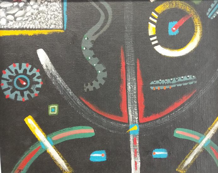 Alan Taylor (NZ) - Maori Folk Motif 1 - Acrylic on canvas board