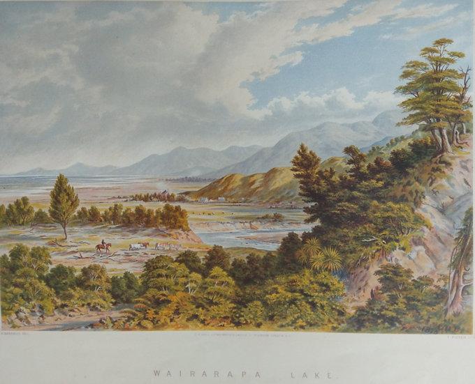 Wairarapa Lake by C.D. Barraud Original Chromolithograph