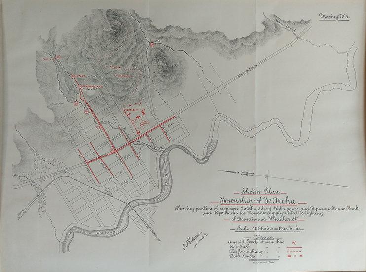 Township of Te Arua. Lithograph 1898