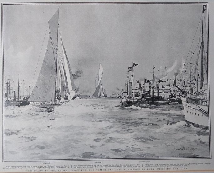 Shamrock III racing for America's Cup. Graphic 1903
