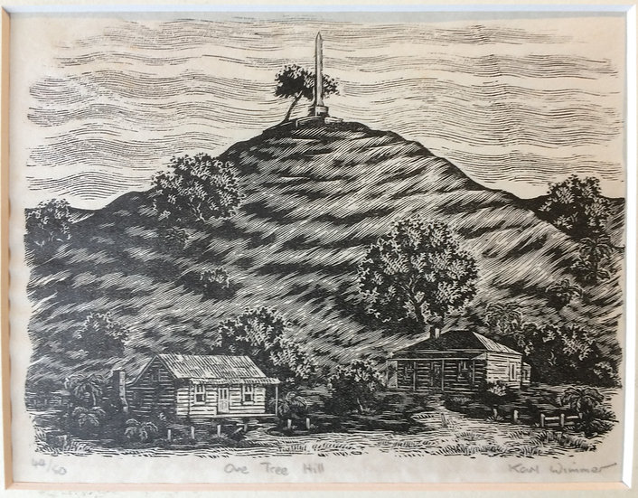 Karl Wimmer Original Wood Engraving - One Tree Hill