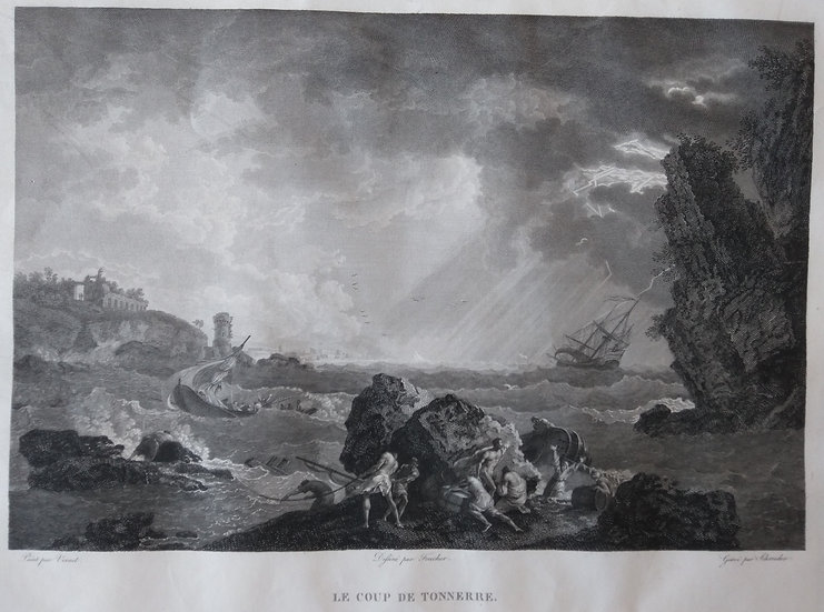 Le Coup de Tonnerre - French Engraving Sea-scapes. Early 19th C.