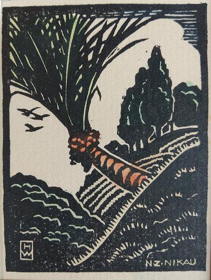 Nikau - Hilda Wiseman - Hand coloured linocut C. 1945
