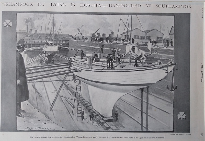 The Sphere 1903 Shamrock III in hospital-dry docked at Southampton. Americas Cup
