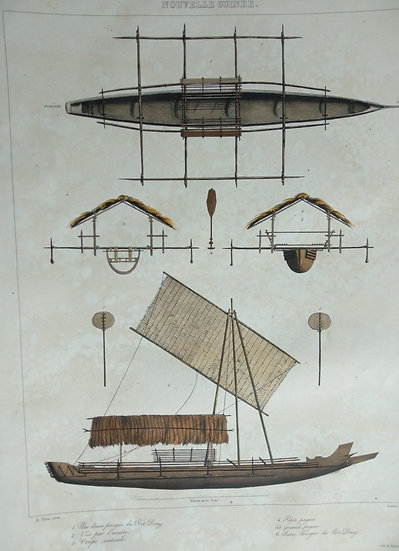 Nouvelle Guinea - Voyage de L'Astrolabe. 1835 original hand coloured engraving