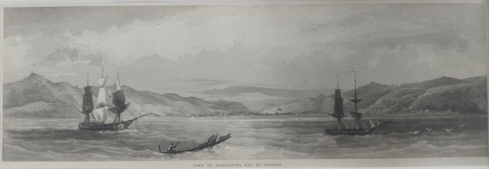 Town of Kororarkia Bay of Islands (Russel) - Brees 1840s engraving