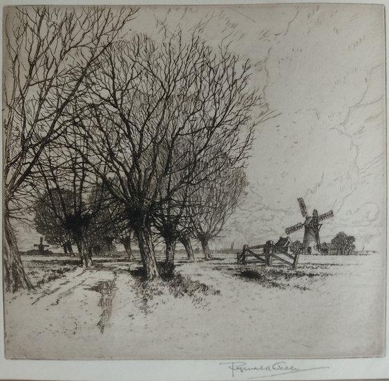 Reginald Green Etching - Arle Marsh Road. Early 20th Century