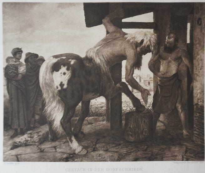 Centaur in der Dorfschmiede. Original gravure C. 1885. Arnold Bockin, Swiss.