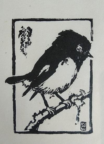 Tomtit - Hilda Wiseman - Linocut C.1940s