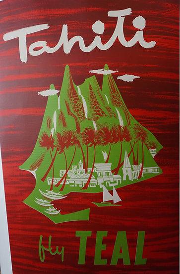 Tahiti Fly Teal Poster featuring island. Original silk screen.