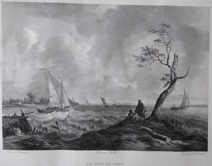 Le Coup de Vent - French Engraving Sea-scapes Early 19th C