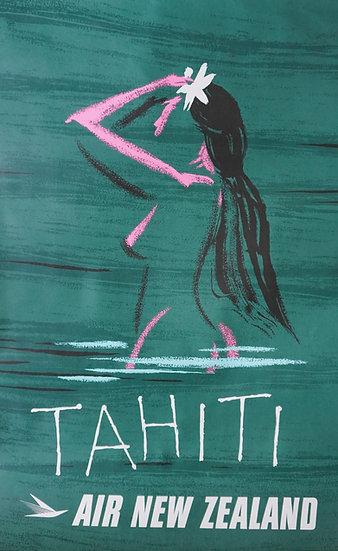 Air New Zealand Tahiti Rare Poster 1950s