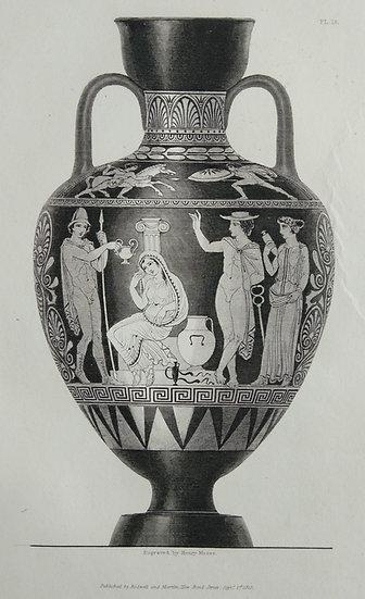 Mezzo Tint Printed circa. 1820 - Amphora Vase VI